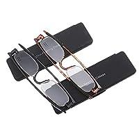 ZSSM 2 packs Rotating reading glasses Portable Mini foldable ultra-light Non-slip ultra-thin anti-fatigue HD Resin for women men readers Eyeglasses,+2.50