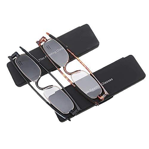 ZSSM 2 Packungen Rotierende Lesebrille Portable Mini Faltbare ultraleichte Rutschfeste ultradünne Anti-Müdigkeits-HD-Harz für Frauen Männer Leser Brillen,+2.50