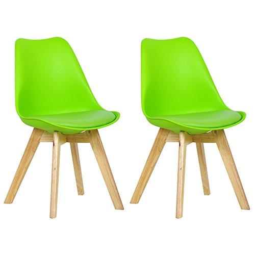 WOLTU 2 Chaises de Salle à Manger Cuisine/Salon chaises,Design en Similicuir et Bois Massif,Vert BH29gn-2
