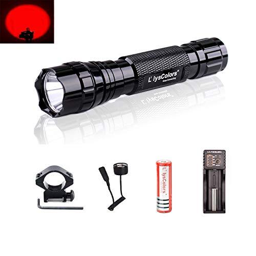 Linterna, L\'lysColors Rojo luz LED Luz Linterna con interruptor de presión remoto 【incluida un paquete de batería de litio recargable 】
