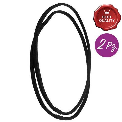 160 - 709 - Lot 2 bandeux élastiques mixte moletées cm 0,5 - Noir
