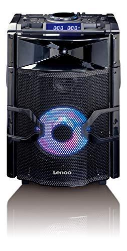 Lenco PA-Anlage PMX-250 Mobile Anlage mit Akku, DJ-Mixer, Licht-Effekten, Bluetooth, USB,  Gitarren-Anschluss, Mikrofon