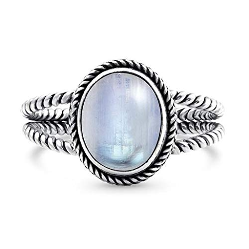 perament Luminous Stein eiförmiger Edelstein Ring Ringverzierung Verlobungsring Ehering ()
