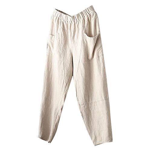 Xmiral Hosen Herren Elastische Taille Einfarbig Jogginghose mit Tasche für Männer Gerade Strecken Cargohose Bleistifthosen(Weiß,L) -