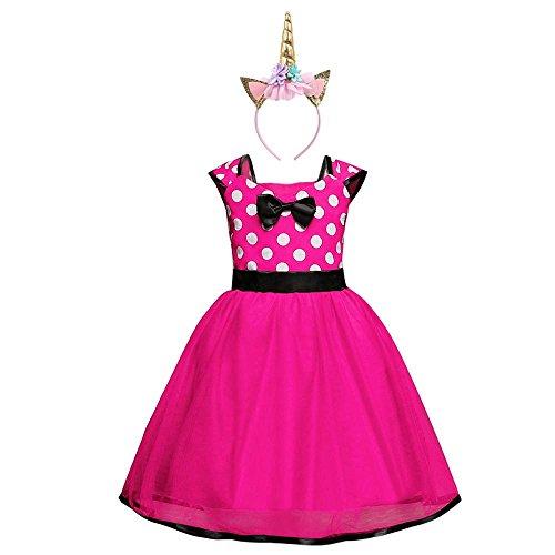 Ragazze abiti vestito costume da minnie dress principessa balletto tutu danza body ginnastica polka dots cerchietto con orecchie per carnevale festa di compleanno abito (rosa caldo, 24 mesi)