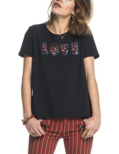 Scotch & Soda Maison Crew Neck Clubhouse Tee With Special Embellishments, T-Shirt Donna Schwarz (Black 08)
