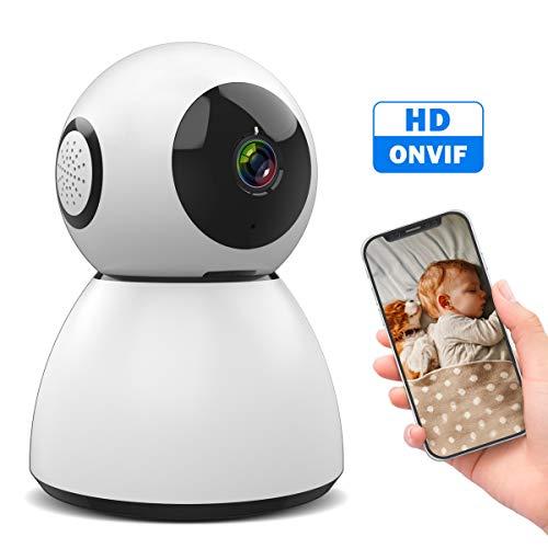 SAWAKE Überwachungskamera innen WLAN Kamera 1080P für Zuhause/Büro (mit Nachtsicht, App Kontrolle, 2 Wege Audio, Ton&bewegungsmelder, Fernalarm, ONVIF) Nacht Wlan-kamera