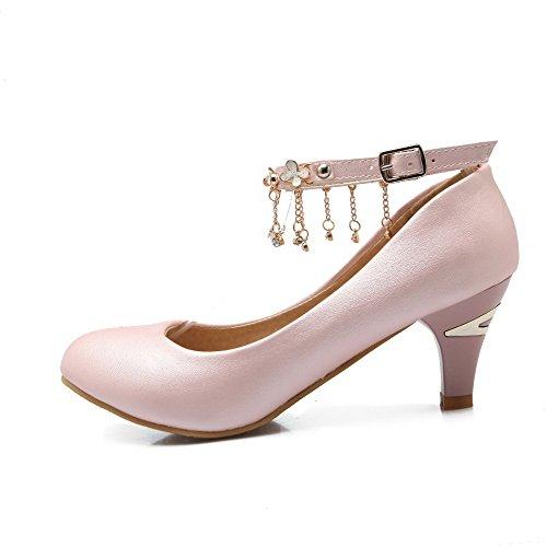 AllhqFashion Damen Weiches Material Ziehen Auf Hoher Absatz Eingelegt Pumps Schuhe Schwarz