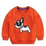 MRULIC Baby Kids Tops 100% Baumwolle Cartoon Dog Printed Langarm Shirt Schöne Sweatshirt Pullover Jumper 1-6 Jahre(Orange,100-110cm)
