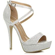 fa5fbc74748be Donna tacco alto fibbia cinturini incrociati scarpe punta aperta sandali  taglia