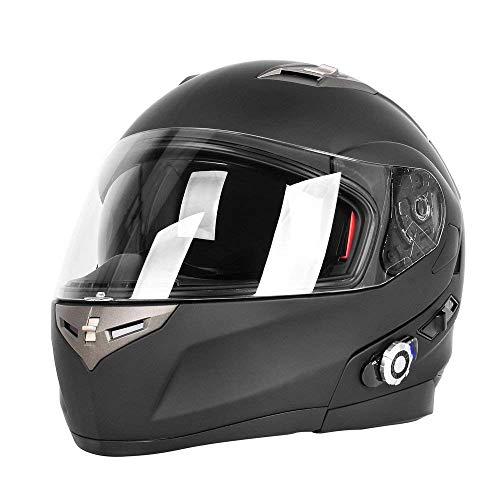Modularer Motorrad-Bluetooth-Helm DOT Motorrad-Schutzhelme Motorrad Flip Up Doppelvisiere Integralhelm Eingebauter Bluetooth-Kopfhörer mit Zwei Lautsprechern und FM-Touring-Helmen,Black,XL Bluetooth-helm-adapter