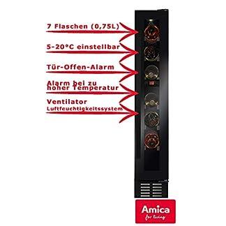 Amica-WK-341-100-S-Weintemperierschrank-mit-Kompressortechnik-fr-7-Flaschen-a-075L-Temperaturbereich-5-20C-Tr-Offen-Alarm