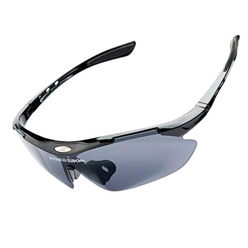 ROBESBON UV400 Gafas de Sol 3 Lentes Intercambiables Protección Ojos para Bicicleta Cycling Ciclismo Moto Conducción Deporte al Aire Libre Color Negro