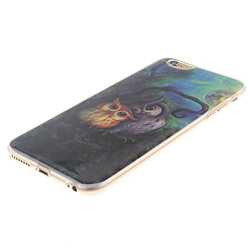 Nancen Ultra Slim Handyhülle für Apple iphone 6 Plus / 6S Plus (5,5 Zoll), Bunt Muster Painted Premium Etui Weich TPU Material Hülle Case Cover Schutz Silikon Schutzhülle Handy Backcover - Anti-kratzf Zwei Eulen