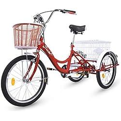Riscko Triciclo para Adultos con Dos cestas (Rojo)