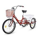 Riscko - Triciclo per Adulti, con Due cestini, Colore: Rosso