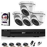Hizone Pro Überwachungskamera-Set, 5 MP, 4 K DVR, 4 Kanäle, H.265+ und 4 x 5 MP, Weiß Ultra HD Metallgehäuse, IP66, wasserfest, für den Innen- und Außenbereich, 20 m Nachtsicht, P2P Fernsicht