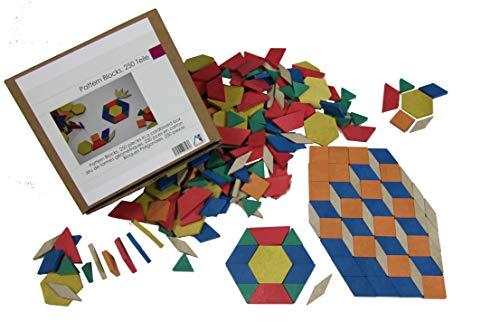 Wissner aktiv lernen 039720.000 Pattern Blocks Geometrie Formen 250 Teile-RE-Wood - Pattern-blocks