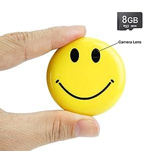 Toughsty 8GB Tragbarer Mini Spion Kamera Smiley Gesicht Abzeichen Videorekorder DV Kamerarecorder mit Audioaufnahme