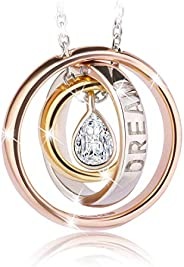 Swarovski Elements Rose Gold Plated 925 Sterling Silver Pendant Necklace JRosee Jewelry JR696
