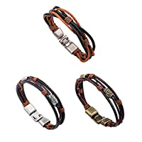 MJARTORIA Unisex PU Leather Hemp Cords Multi Strands Wrap Bracelets Pack of 3