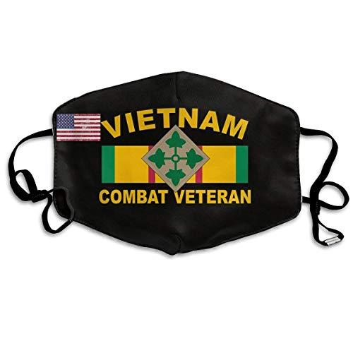 Face Masks with Design, 4th Infantry Division Vietnam Veteran Unisex Face Masks Dust Mask Reusable Fashion Masks Anti-Dust Flu Mouth Mask 165 White -