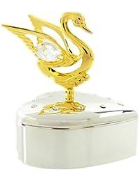 Elegante caja de joyas 24 KB chapado en oro con piedras de Swarovski