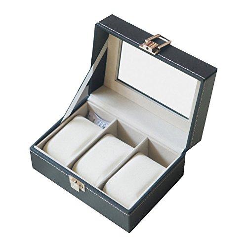 LE Uhrenbox LE Uhrenbox Leder Uhrenbox Armbanduhr Aufbewahrungsbox Geschenke Skylight Display Box 10-stellige Uhrenbox