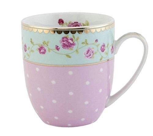 Clayre & Eef GRMUS Tasse Becher Kaffeetasse Blume innen ca. 0,2 L