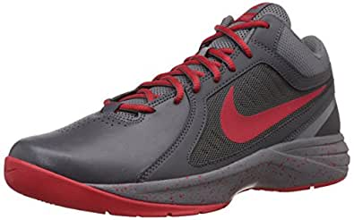 Nike Men's The Overplay VIII Dark Grey and University Red Basketball Shoes -9 UK/India (44 EU)(10 US)