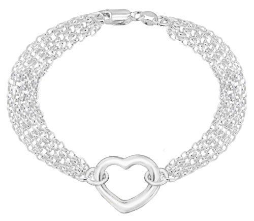 """Tuscany Silver Sterling Silver 5 Strand Chain and Heart Bracelet of 18cm/7"""""""