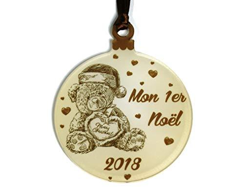 Gravure Events Décoration de Sapin - Mon Premier Noël – Sujet en Plexiglass Mod.Nounours - (Alternative à la Boule 1er noël)