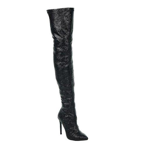 Angkorly - damen Schuhe Oberschenkel-Boot - Stiletto - Sexy - Abend - glänzende - glitzer Stiletto high heel 11 CM Schwarz