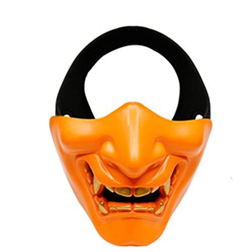 Fun Holi-day Supplies Halloween Spielzeug Maske Japanischer Geist Prajna Halbes Gesicht Dämon Cosplay Spukhaus Unfug Maskerade,Orange