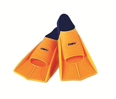 Maru Training Fins - Neon Orange/Navy 43-44
