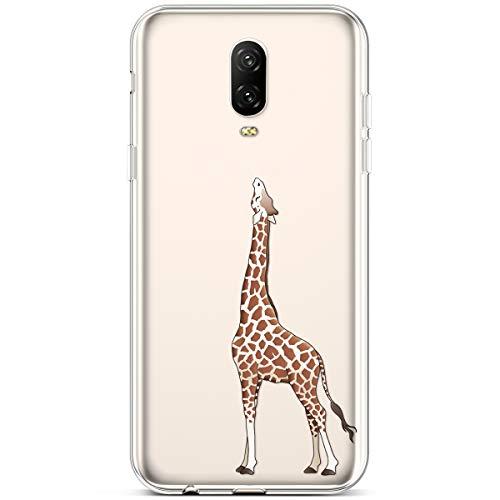 Rann.Bao Kompatibel mit One Plus 6T Hülle, Weiche Handy Hülle Transparente TPU Cover Schale mit Motiv Muster Tasche Case Ultra-dünne Slim Xmas HandyHülle Case,Giraffe + EINWEG Verpackung