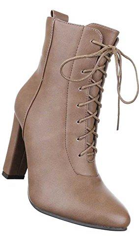 Damen Schuhe Stiefeletten Schnür Boots Hellbraun