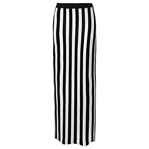 Flirty Wardrobe Jupe longue pour femme Noir imprimé Elasricated jupe + ceinture Taille 36–50 Blanc - Stripe White