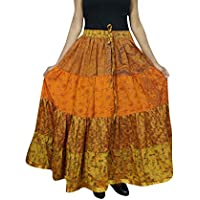 Mogul Interior Womens Flare Skirt Orange Sari Tiered Belly Dance Skirts OneSize