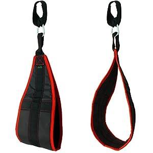 CampTeck U6833 Ab Straps Slings Armschlaufen für Bauchtraining gepolsterte hängende mit Karabiner für Bauchmuskeltraining, Bauchpresse, Beinheben, Fitness Gewichtheben Training – schwarz, 1 Paar