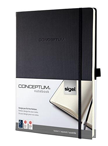 Sigel CO111 Notizbuch ca. A4, kariert, Hardcover, schwarz, CONCEPTUM - weitere Modelle