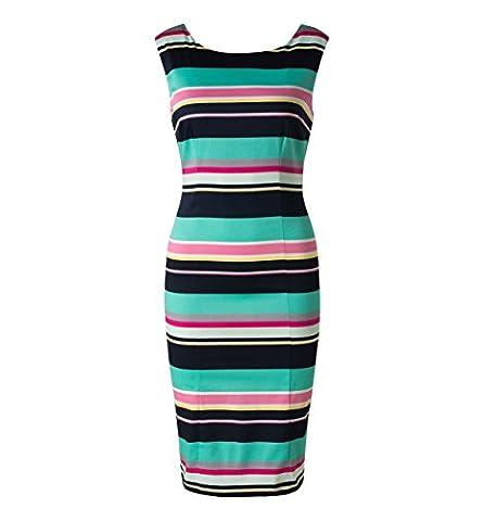C&A Damen Etuikleid Bleistiftkleid Sommerkleid Baumwolle gestreift knielang bunt Größe 38