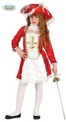 Imagen de disfraz de mosquetera roja flor de lis para niña