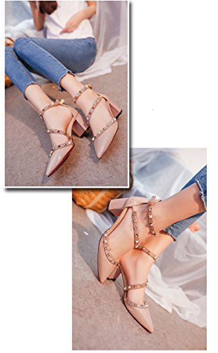 Minetom Tacchi Alti Rotazione Rivetti Sandali Comodi Mary Jane Donna Buckle Rough Tacco Basso Primavera Estate Sexy Scarpe Punta Pompa Rosa