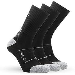 IMITOR Calcetines de Senderismo para Hombre y Mujere Algodón Transpirable Calcetines de Trekking Calcetines para Actividades al Aire Libre Ciclismo Correr Escalar 3 Pares (Oscuro Gris)