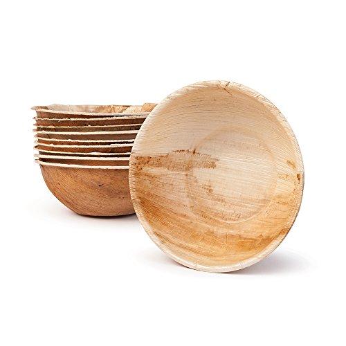 BIOZOYG DTW05509 Vaschetta da Snack/Ciotola per minestre in Foglia di Palma, 25 Pezzi, Rotonda, 425 ml, Ø15 cm, Altezza 5 cm, decomponibile