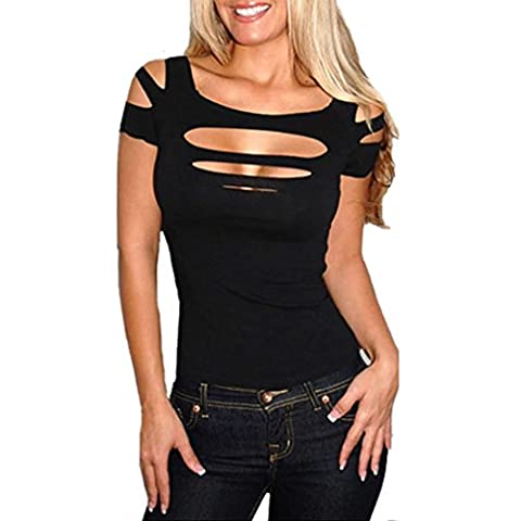 Hengsong Femmes Sexy Creux Collier De Shouder Coton Mélange T-shirt Cocktail Chemisier Gilet (L, noir)