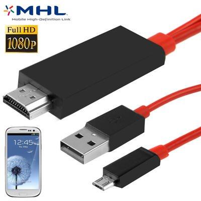 Micro USB zu HDMI Kabel 2m Full HD 1080P HDTV Adapter Adapterkabel für Samsung Galaxy Tab 3 8.0 SM-T310 3G SM-T311 LTE SM-T315, Tab 3 10.1 3G GT-P5200 GT-P5210 GT-P5220, Tab S 8.4 SM-T700 Wi-Fi SM-T705 LTE