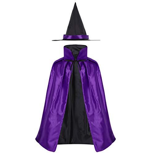 iEFiEL Kinder Unisex Halloween Hexe-Kostüm Hexen Umhang Rot Zauberer mit Hexenhut Halloween Cosplay Kostüm Karneval Fasching Verkleidung in Rot Violett Violett One Size (Kostüm Halloween Rote Hexe)