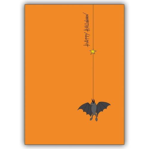 1 Halloween Karte: Lustige Happy Halloween Klappkarte mit Fledermaus, die abhängt. (Lustige Karten Halloween)